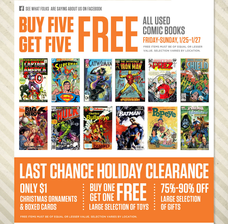 Buy 5, Get 5 FREE - All Used Comic Books
