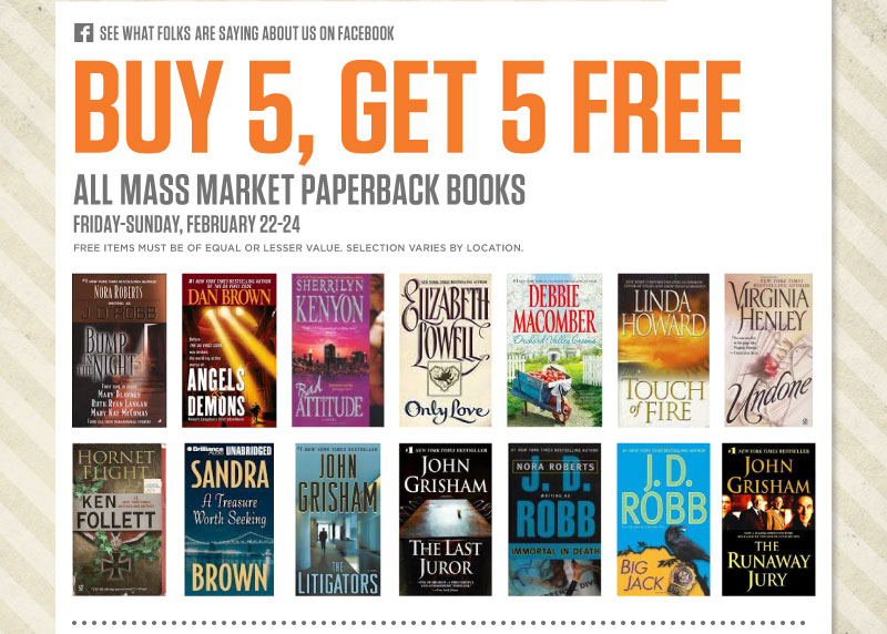 Buy 5, Get 5 Free - All Mass Market Paperback Books