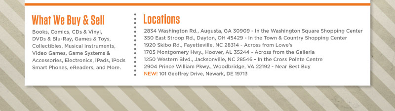 What We Buy & Sell - Locations Near You