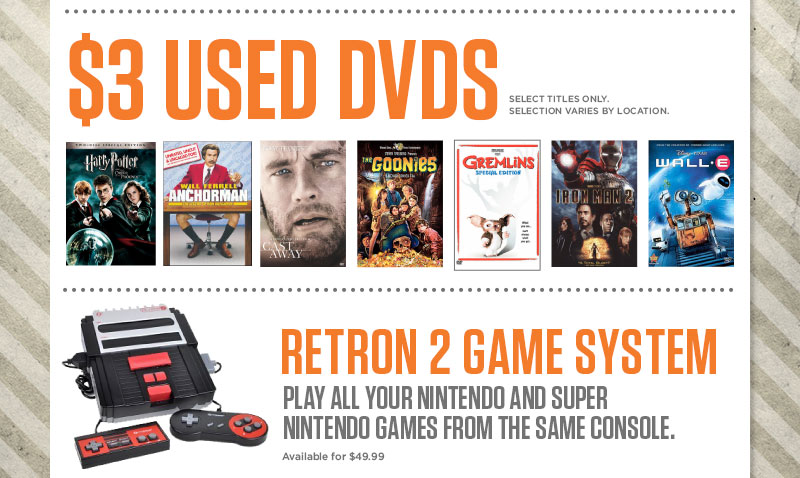 $3 Used DVD Sale plus The Retron Game system available for $49.99